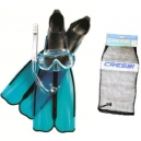 Kit CRESSI Snorkeling Fin Rondinella + Wave + máscara y tubo respirador Gringo