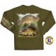 t-shirt flying fisherman carp tee military green