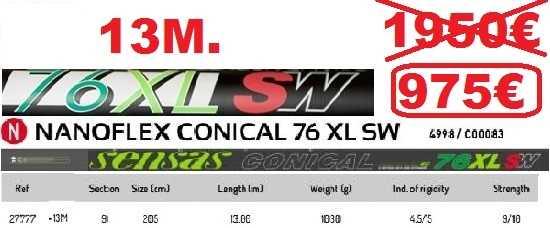 SENSAS NANOFLEX CONICAL 76 XL SW  13M.