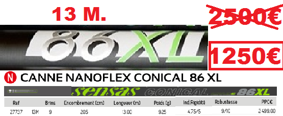 SENSAS NANOFLEX CONICAL 86 XL 13M.