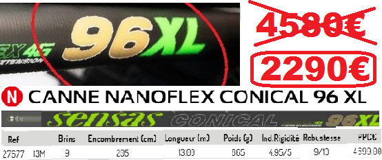 SENSAS NANOFLEX CONICAL 96 XL  13M.